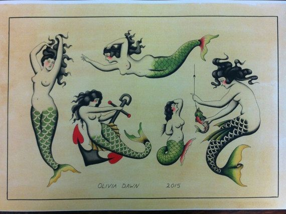 Awesome old school style mermaid in different poses tattoo design