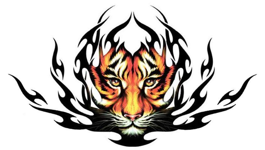 awesome orange tribal tiger tattoo design for men. Black Bedroom Furniture Sets. Home Design Ideas