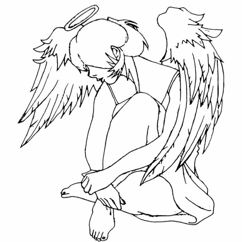 Awesome outline animated sitting angel girl tattoo design