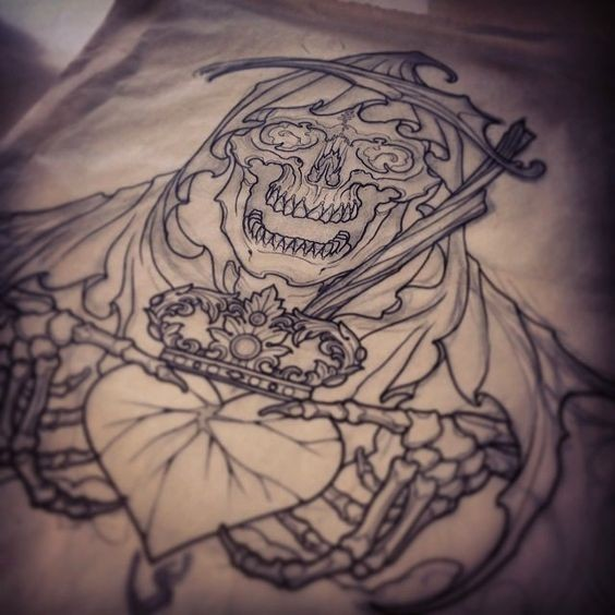 Awesome outline death keeping a crowned heart tattoo design