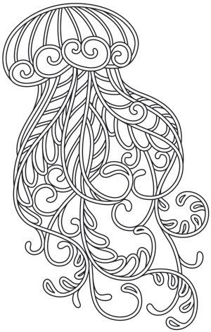 Awesome outline jellyfish with swirly leaf pattern tattoo design
