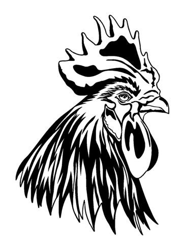 Awesome outline rooster portrait in profile tattoo design for Funky rooster tattoo and art gallery