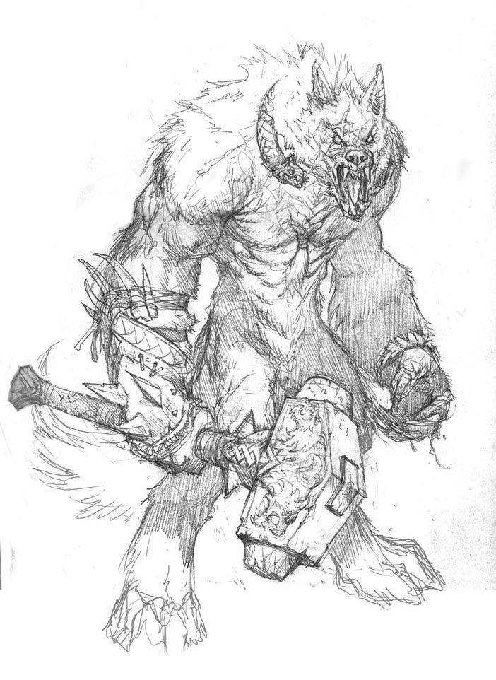 Awesome pencilwork werewolf warrior with a giant hammer tattoo design