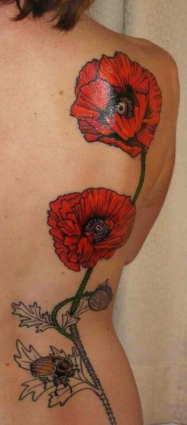 Awesome poppy flowers and bug tattoo on back