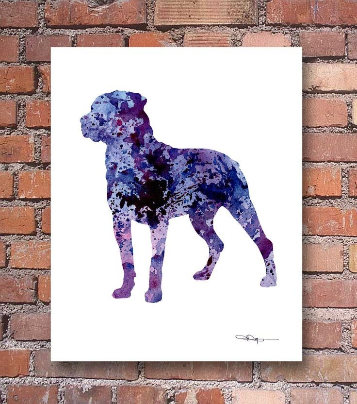 Awesome purple-and-blue watercolor rottweiler tattoo design