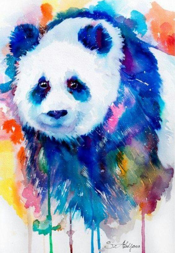 Awesome rainbow watercolor panda tattoo design