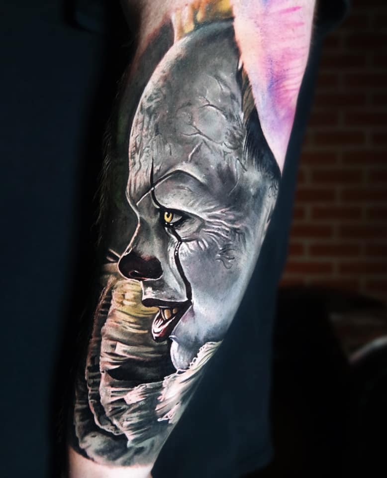 Awesome realistic clown tattoo from It movie