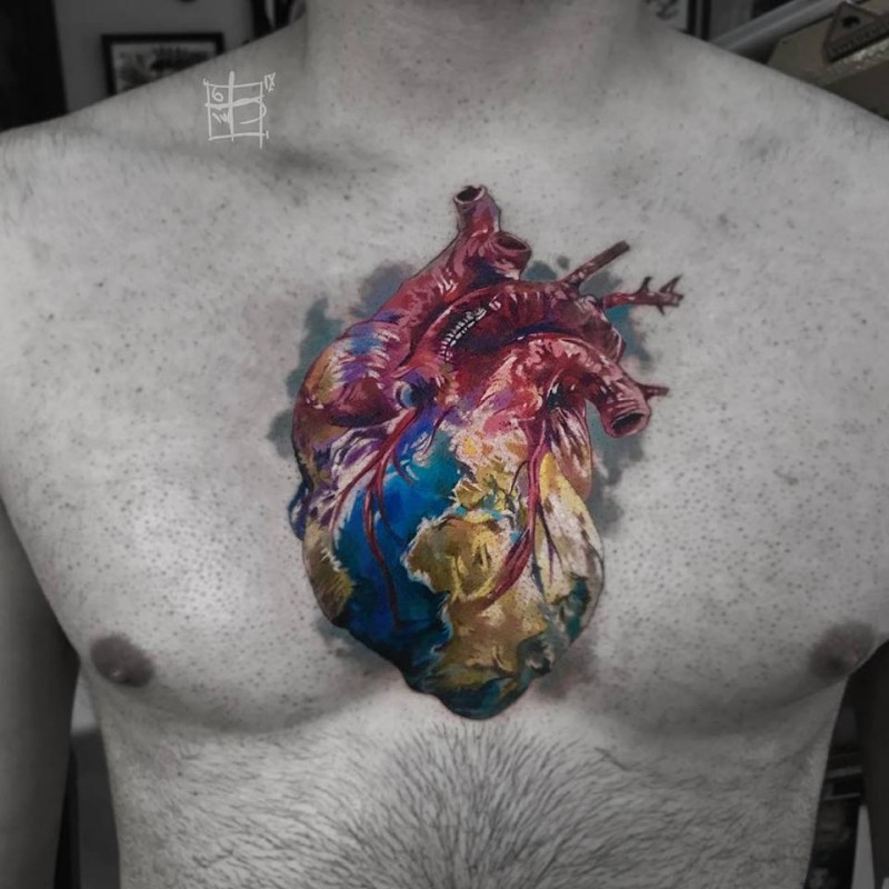 Awesome realistic heart tattoo on chest