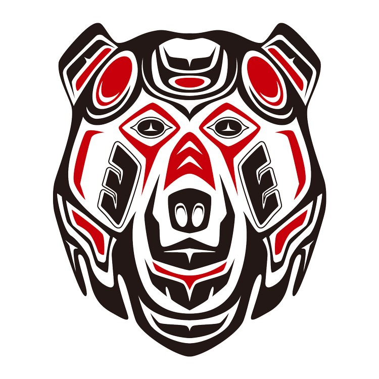 Awesome red-and-black maori style grizzly tattoo design by Takihisa