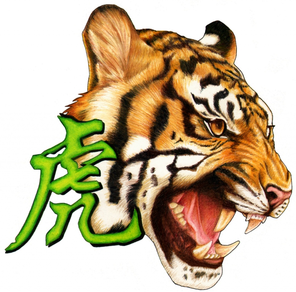 Awesome screaming tiger head and green chinese hieroglyph tattoo design