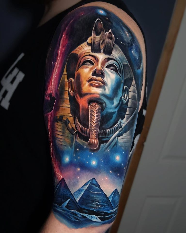 Awesome space and pharoah tattoo on shoulder