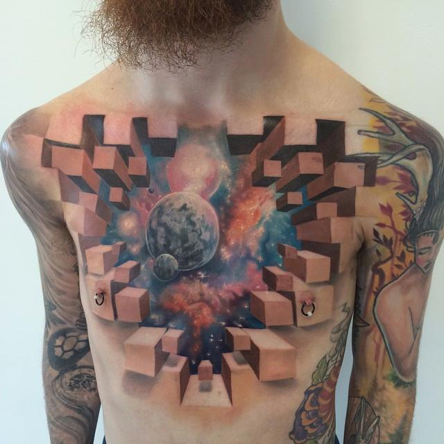 Awesome space theme tattoo with 3d elements on chest