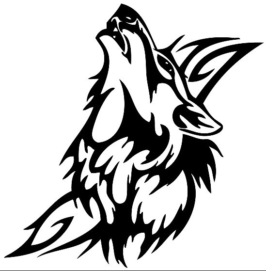 Awesome Tribal Black Color Howling Wolf Head Tattoo Design