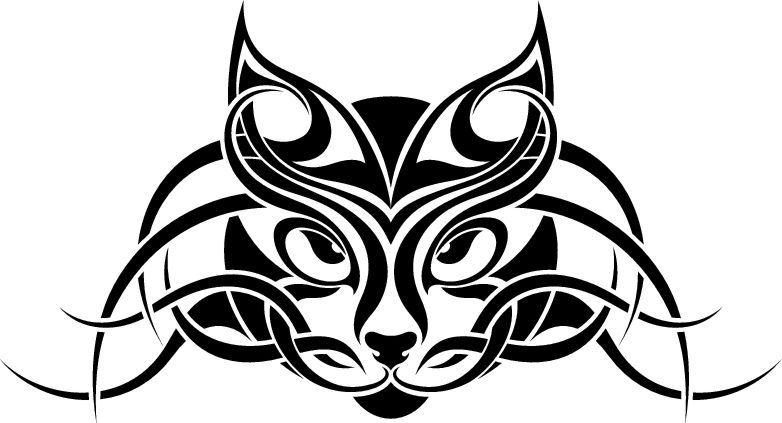 Awesome tribal cat face tattoo design