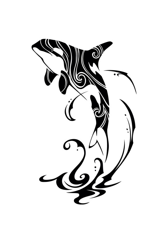 awesome tribal dolphin and curly water tattoo design by takihisa. Black Bedroom Furniture Sets. Home Design Ideas