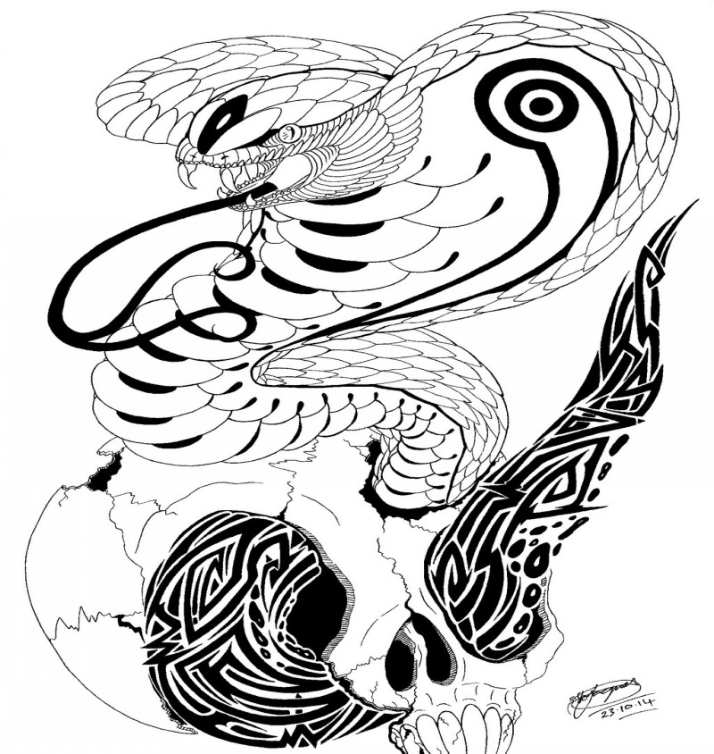 Awesome tribal king cobra snake and skull tattoo design by Shannon X Naruto
