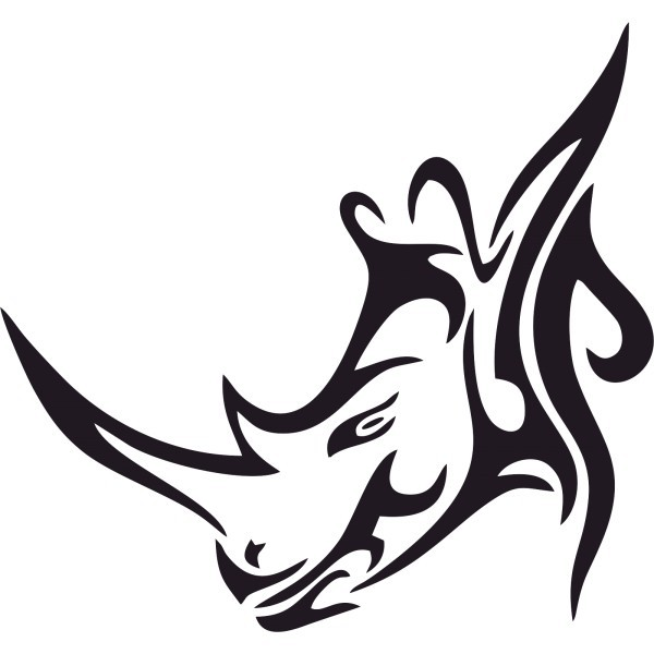 Awesome tribal rhino in profile tattoo design