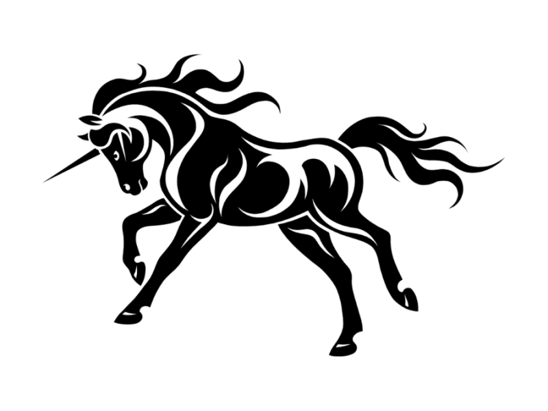 Awesome tribal unicorn running to the left tattoo design by Project Kitt
