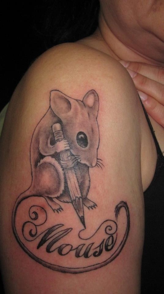 Awesome uncolored rodent with pencil and quote tattoo on upper arm