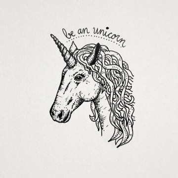 Awesome uncolored unicorn head with lettering tattoo design