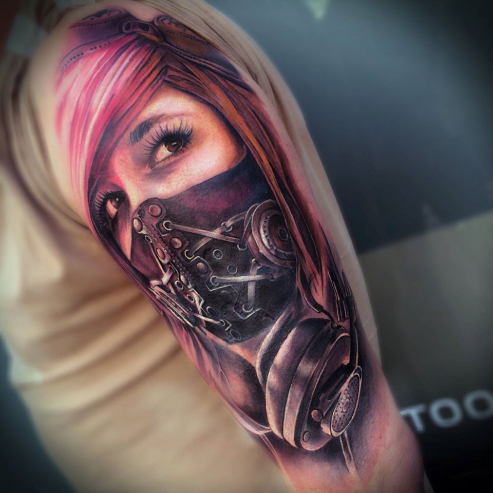 Awesome waman face with mask tattoo