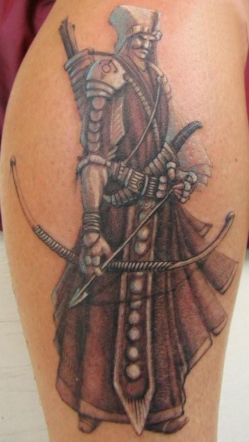 Awesome warrior with a bow tattoo on shin