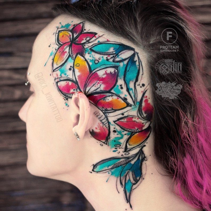 Awesome watercolor flowers tattoo on head