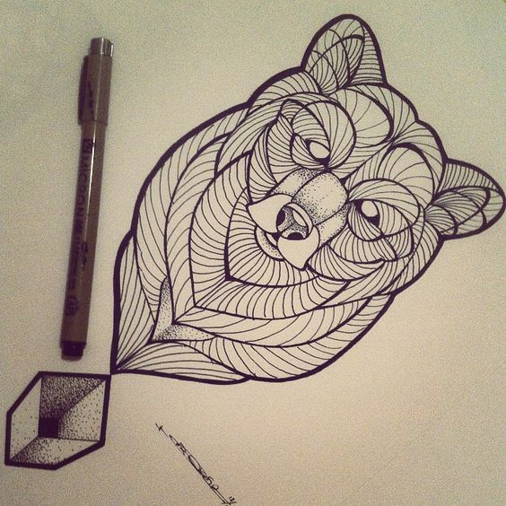 Awesome white-eyed bear portrait and dotwork geometric square tattoo design