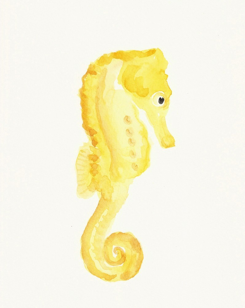 Awesome yellow watercolor seahorse tattoo design