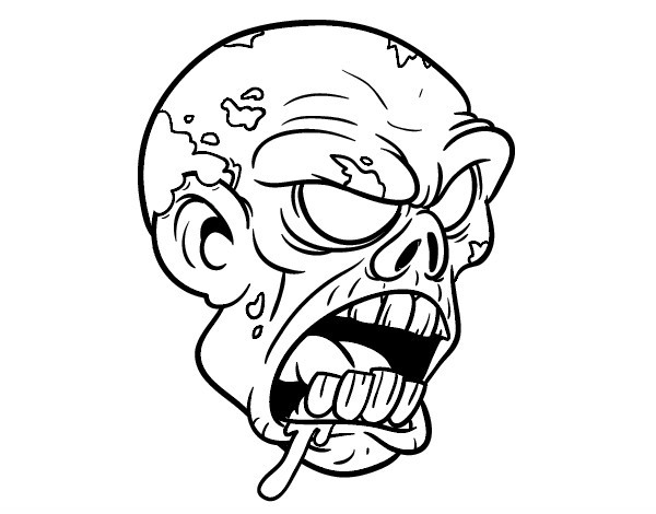 Awful cartoon outline zombie head tattoo design