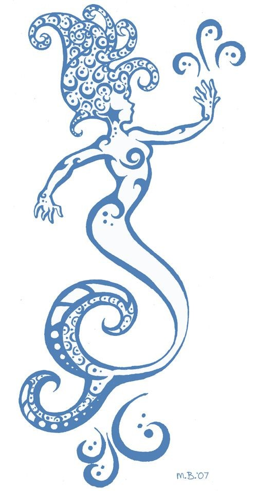 Awsome blue-ink tribal mermaid tattoo design