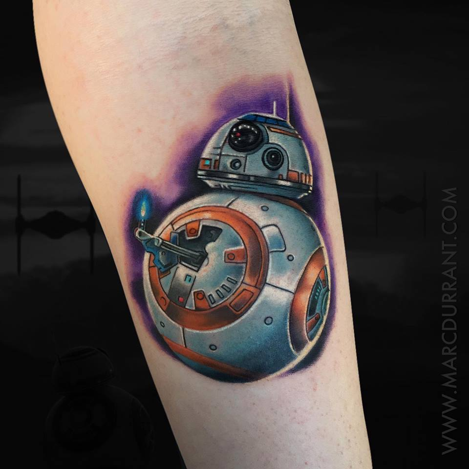BB-8 droid from Star Wars movie tattoo
