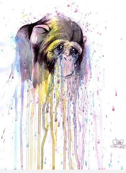 Baby monkey crying with rainbow watercolor smudges tattoo design