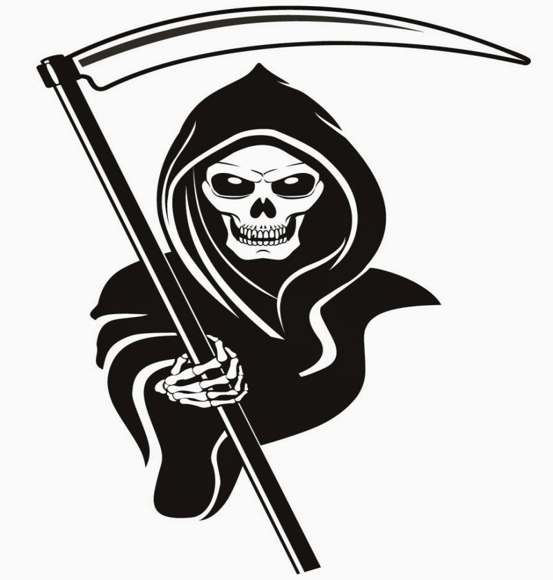 Bad black-ink death giving a scythe to his successor tattoo design