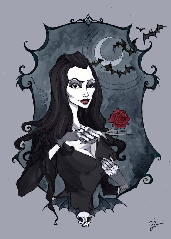 Beautiful Martisha vampire in curly frame with flying bats tattoo design