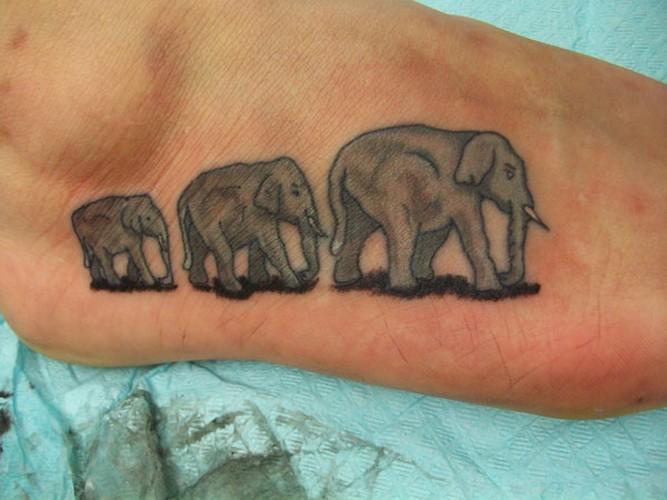 Beautiful animated elephant family tattoo on foot
