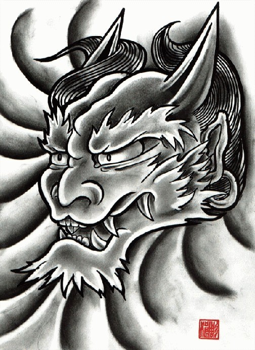 beautiful black and grey oriental demon face tattoo design. Black Bedroom Furniture Sets. Home Design Ideas