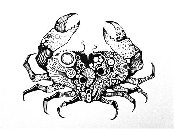 Beautiful black-and-white crab with charming pattern tattoo design