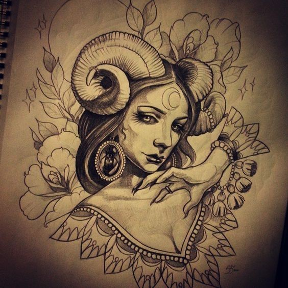 Beautiful black-and-white devil girl with ariel horns tattoo design