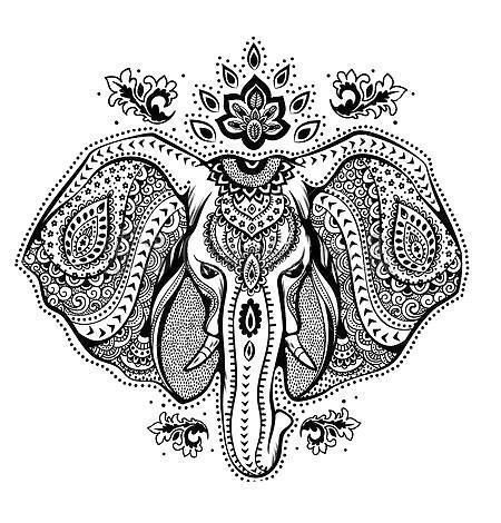 Beautiful black-and-white elephant head with indian pattern tattoo design
