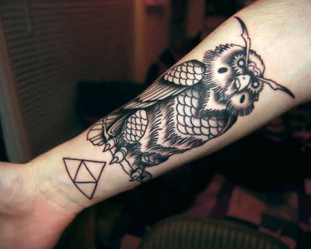 Beautiful Black And White Owl With Triangle Tattoo For Guys On