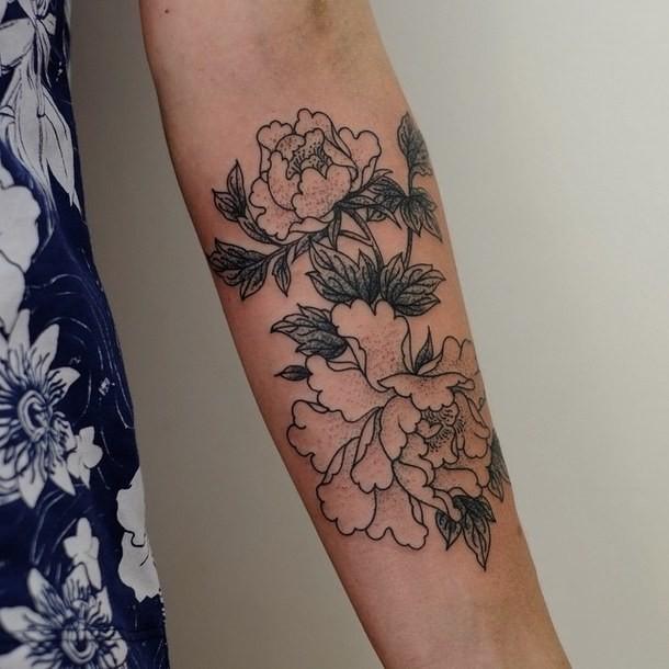 Beautiful black-and-white vintage rose flowers tattoo on ...  Beautiful black...