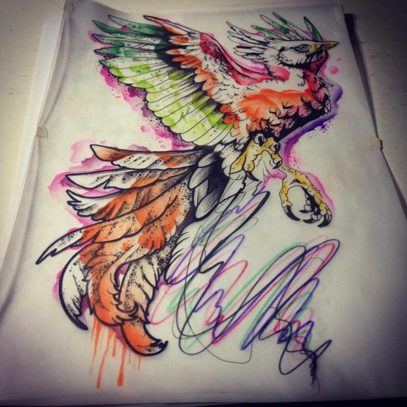 Beautiful black-contour phoenix with rainbow watercolor effect tattoo design