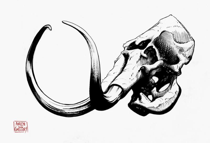 Beautiful black-ink mammoth skull tattoo design by Aaron John Gregory