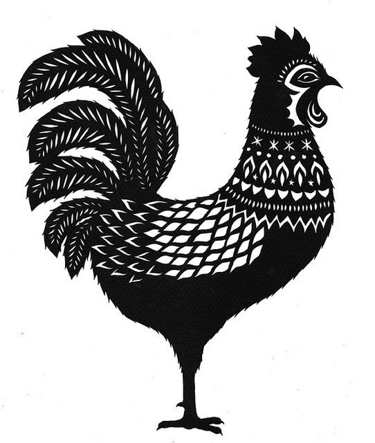 Beautiful black-ink rooster with white-ink patterns tattoo design