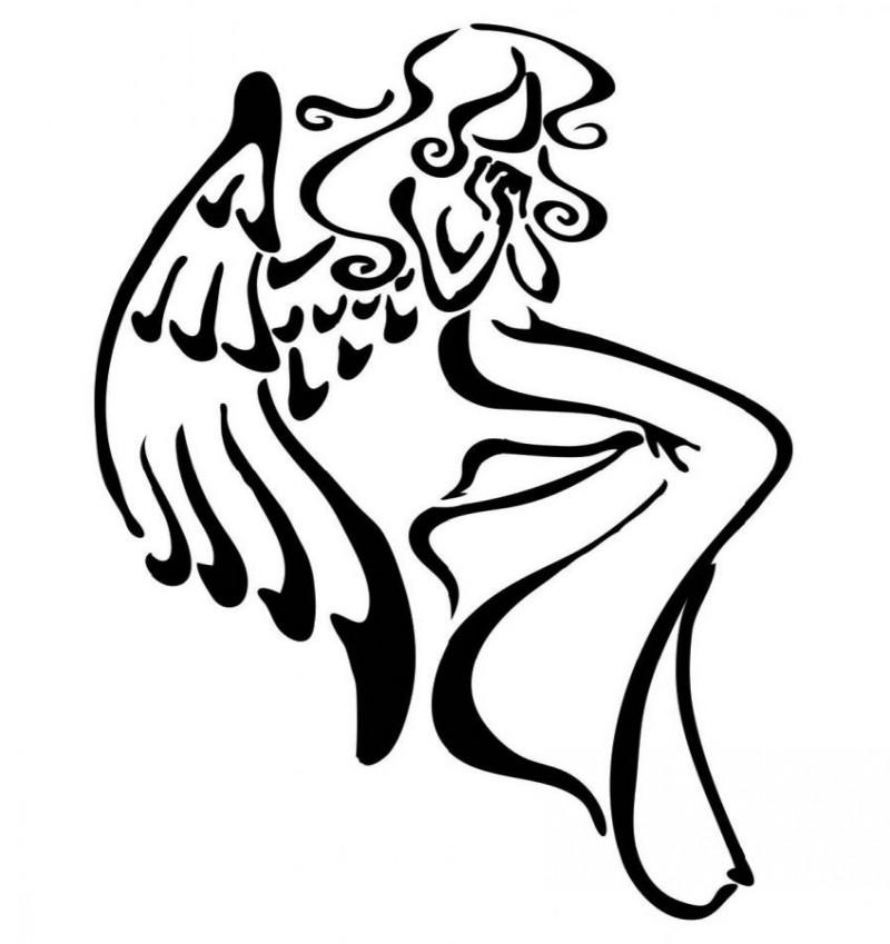 Beautiful black-line angel girl silhouette tattoo design