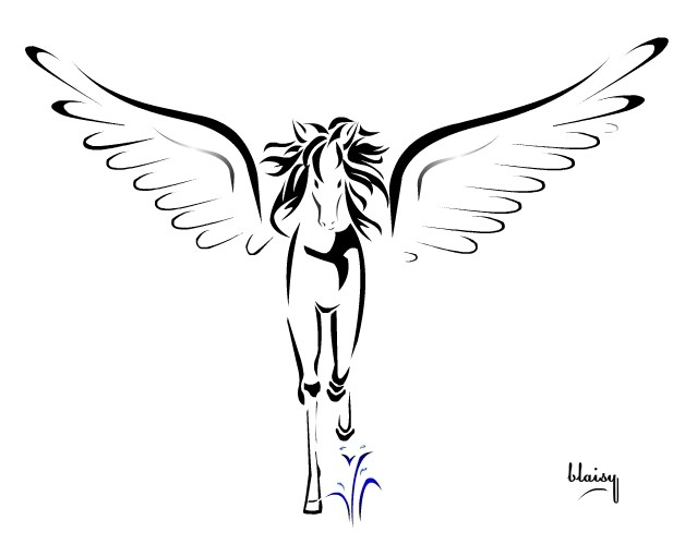 Beautiful black-line pegasus running forward tattoo design
