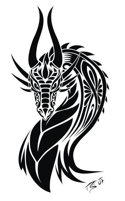 Beautiful black dragon portrait in tribal style tattoo design