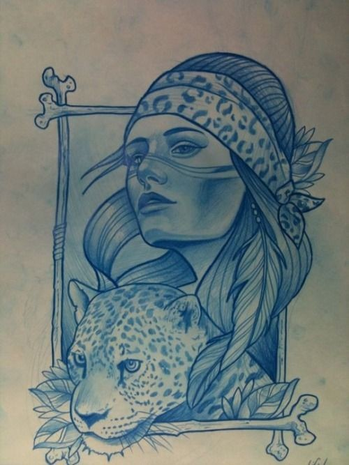 Beautiful blue-ink woman and jaguar in square frame tattoo design