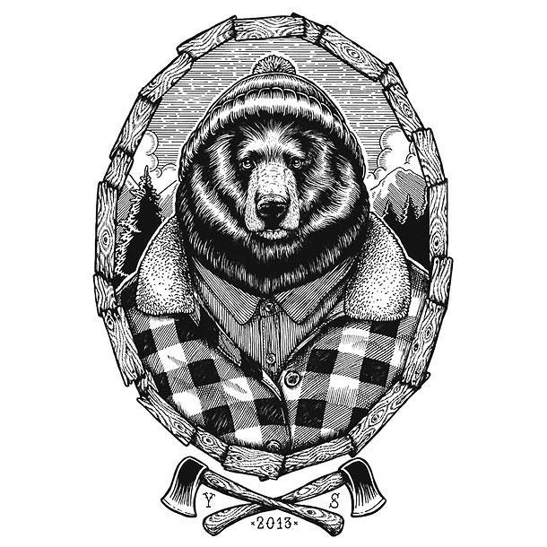 Beautiful clothed bear in frame and crossed axes tattoo design